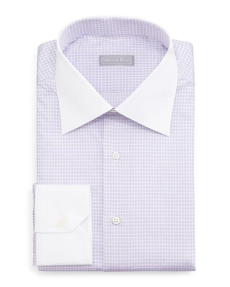 Stefano Ricci Contrast-Collar Check Dress Shirt, Lavender