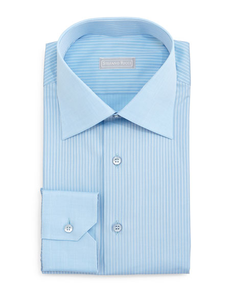 Stefano Ricci Contrast-Collar Striped Dress Shirt, Blue