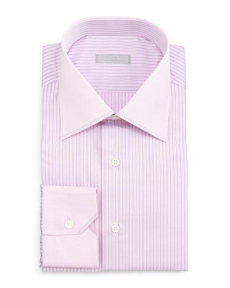 Stefano Ricci Contrast-Collar Striped Dress Shirt, Pink