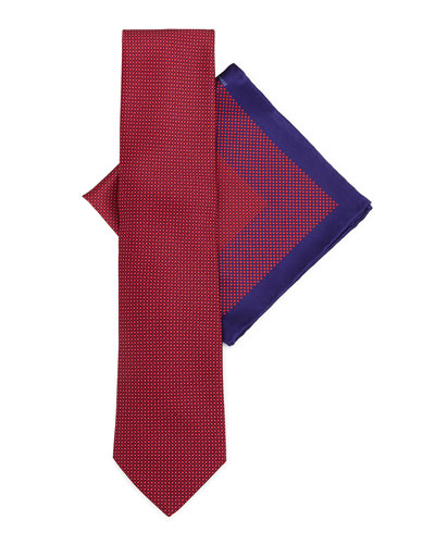 Silk Tie & Pocket Square Set, Red