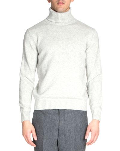 Wool Turtleneck Sweater, Light Gray