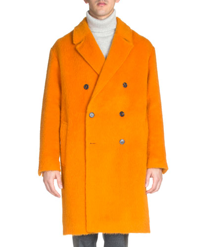 Long-Sleeve Wool-Alpaca Coat, Orange