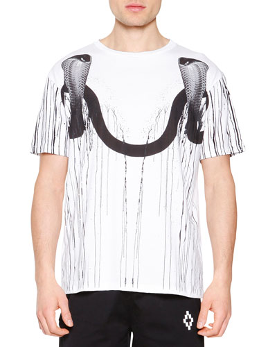 Double Snake-Head Graphic Tee, White