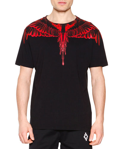 Red Feathers Graphic Tee, Black
