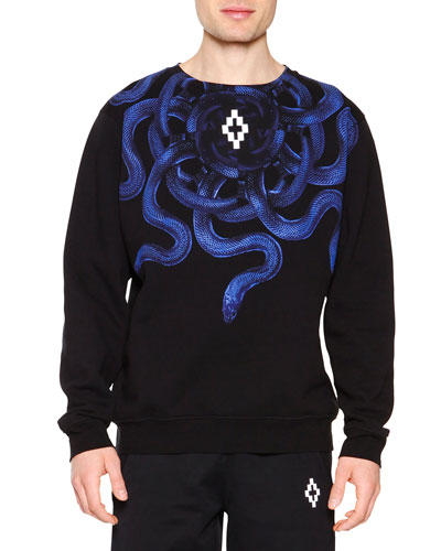 Snake Graphic Crewneck Sweatshirt, Black