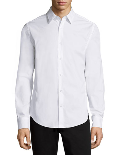Basic Long-Sleeve Woven Shirt, White
