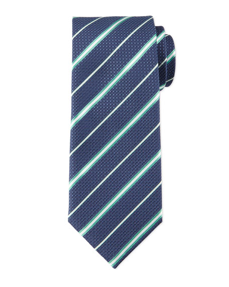 Brioni Striped Honeycomb-Pattern Tie, Navy/Green