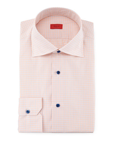 Line-Graph Woven Shirt, Orange/Blue