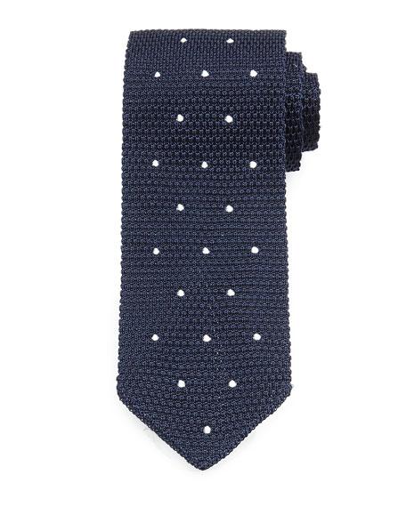 Knit Dot Silk Tie, Navy