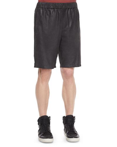 Relaxed-Leg Leather Shorts, Black