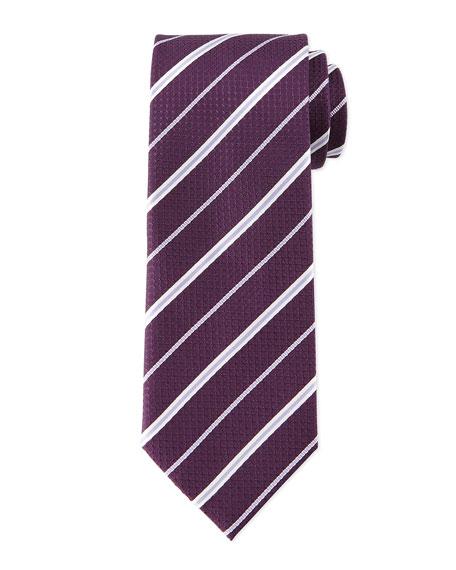 Brioni Striped Honeycomb-Pattern Tie, Plum/Lilac
