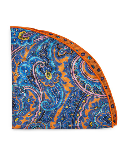Paisley Silk Pocket Circle, Orange