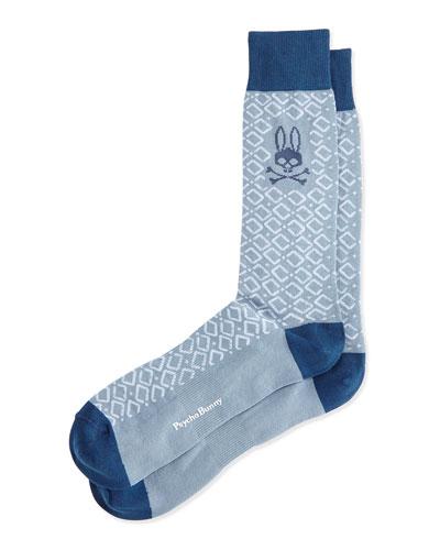 Geometric Print Socks, Light Gray