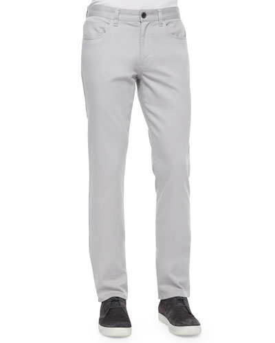 Five-Pocket Stretch-Twill Pants, Gray