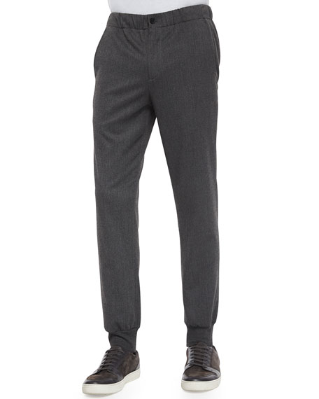 Vince Lux Blend City Stretch-Knit Jogger Pants, Charcoal