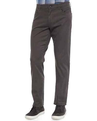Five-Pocket Stretch-Twill Pants, Dark Gray