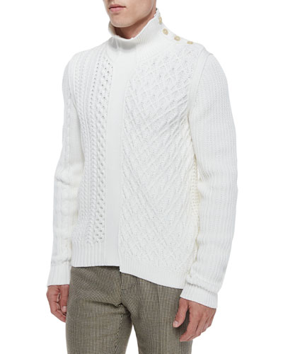 Cable-Knit Sweater with Button Detail, Cream