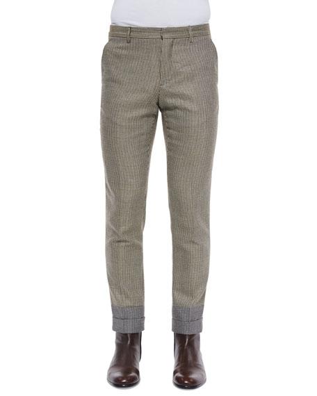 Maison Margiela Houndstooth Slim-Fit Cropped Trousers, Khaki