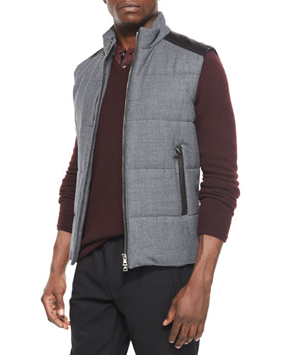 Quilted Vest with Leather Detail, Gray