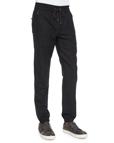 Vince Traveler Wool Jogger Pants, Black
