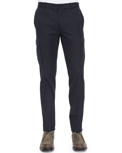 Military-Style Cargo Dress Pants, Navy