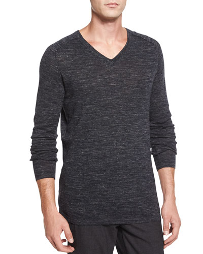 Speckled V-Neck Sweater, Charcoal
