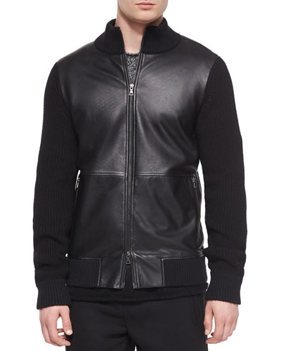 Leather Zip-Up Jacket with Wool Sleeves, Black