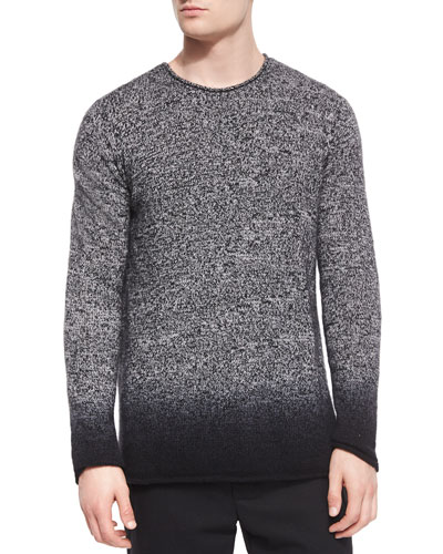 Cashmere Marled Dip-Dyed Crewneck Sweater, Black