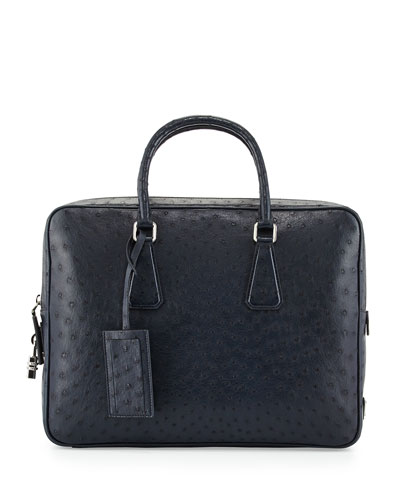 Ostrich Leather Briefcase, Blue