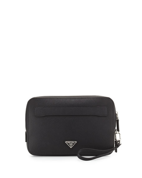 Prada Saffiano Men\u0026#39;s Clutch Bag, Black (Nero)