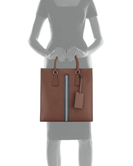 Prada Men\u0026#39;s Large Calf Travel Tote Bag, Brown/Green/Gray