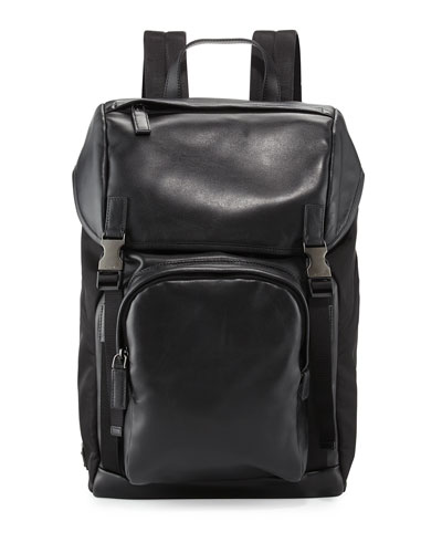 Men's Leather & Nylon Backpack, Black