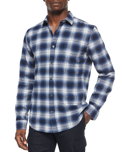 Engineered Plaid Long-Sleeve Shirt, Blue