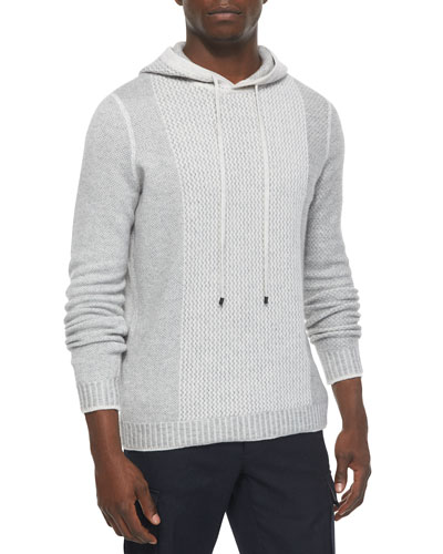 Textured Wool-Blend Hoodie Sweater, White/Gray