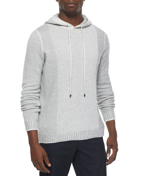 Vince Textured Wool-Blend Hoodie Sweater, White/Gray