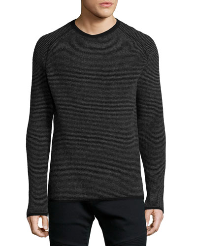 Thermal-Stripe Cashmere Sweater, Black