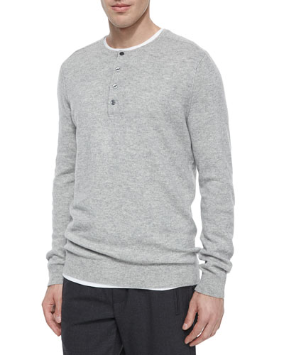 Cashmere Long-Sleeve Henley Tee, Light Gray