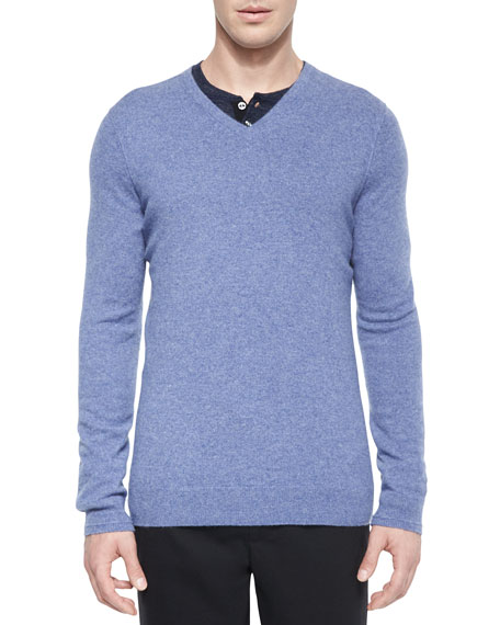 Vince Cashmere V-Neck Sweater, Light Blue
