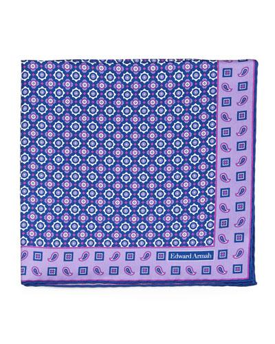 Medallion-Pattern Silk Pocket Square, Purple/Navy