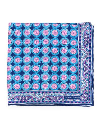 Circle-Flower Print Silk Pocket Square, Navy