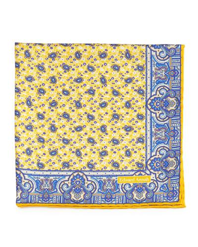 Small Paisley-Print Silk Pocket Square, Yellow