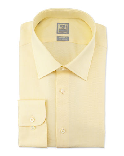 Tonal Textured Grid-Check Dress Shirt, Yellow