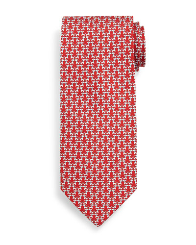 Kissing Dog-Print Tie, Red