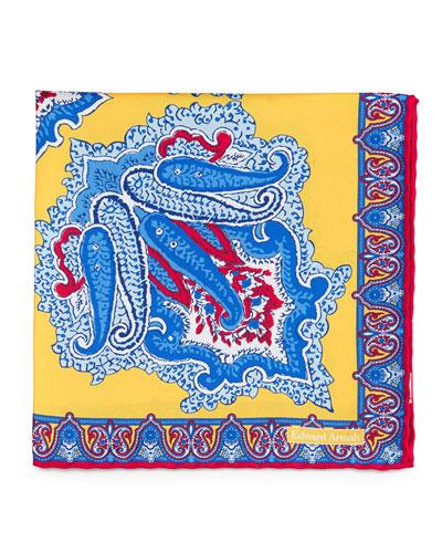 Large Paisley-Print Silk Pocket Square, Yellow