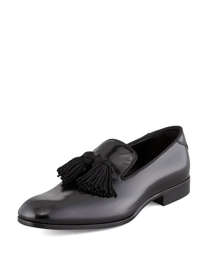 Jimmy Choo  Shiny Calfskin Tassel Loafer, Black