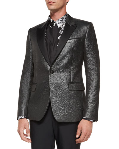 High-Shine Evening Jacket, Metallic Gray