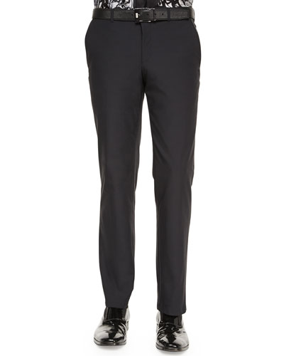 Scuba Flat-Front Trousers, Black