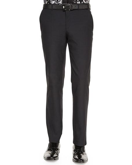 Versace Collection Scuba Flat-Front Trousers, Black
