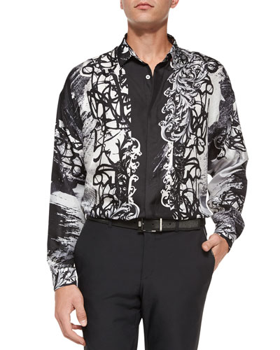 Medusa Graffiti-Print Sport Shirt, Black/White