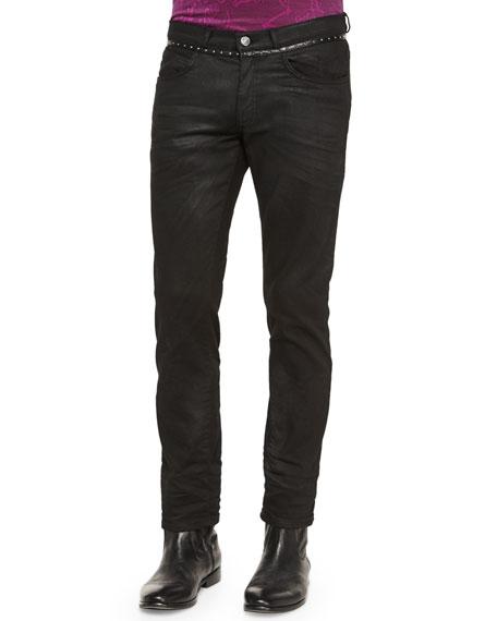 Versace Collection Studded-Waist Five-Pocket Denim Jeans, Black